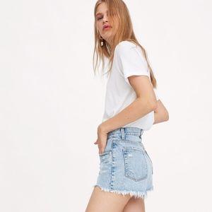 EUC Zara Hi-Rise Ripped Denim Shorts